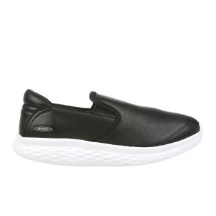 Women's Modena Black Leather Walking Slip-Ons 702628-03L Small